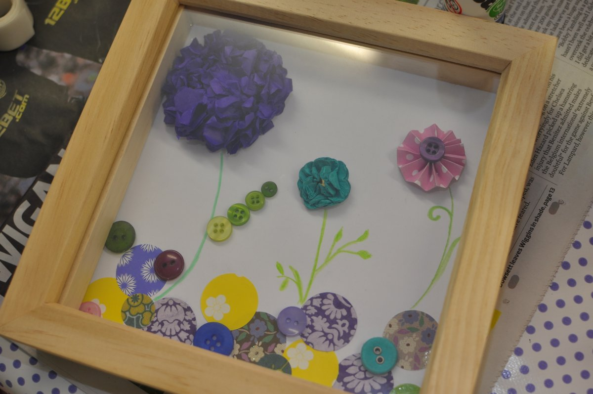 Finished work - nicely displaying paper flowers and pinwheels