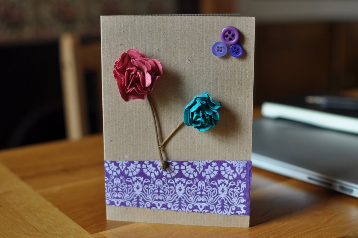 A card with paper flowers