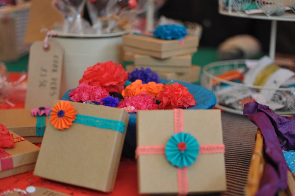 Paper pinwheel gift decorations