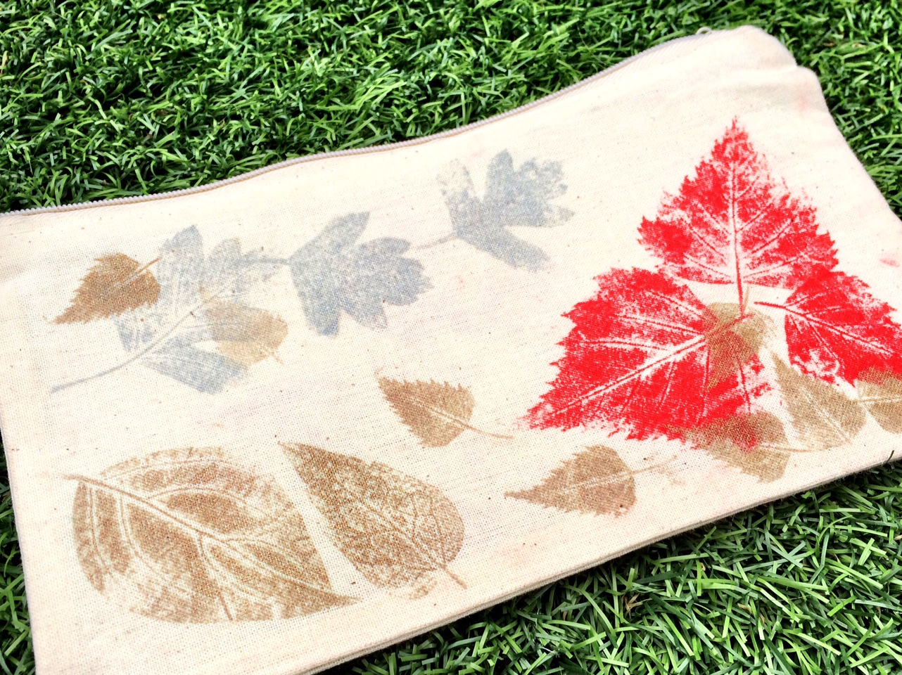 Fabric leaf printing at Foundry Wood