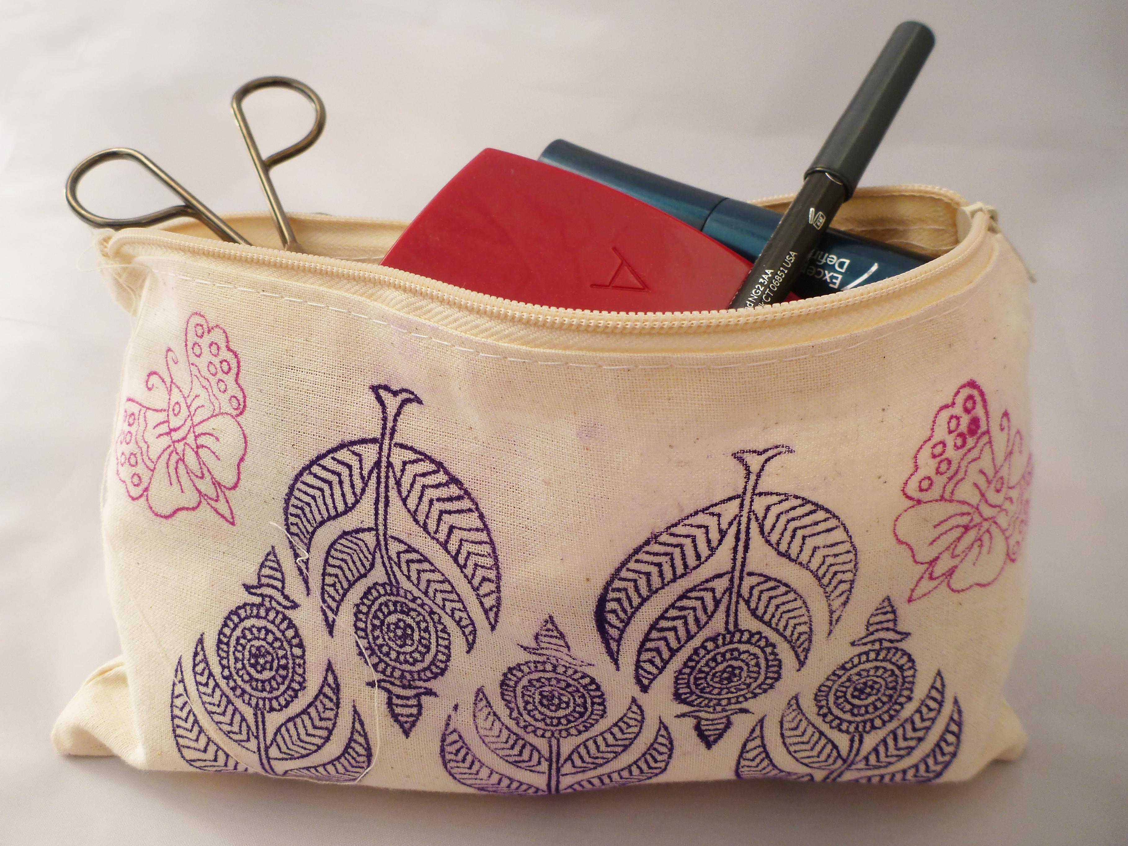 Indian Block Printing - Make Up Bag